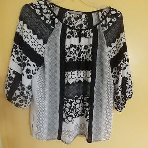 NY COLLECTION Black & White Career Top M
